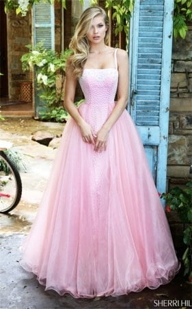 2017 Blush/Ivory Appliques Floral A-Line Long Party Dress By Sherri Hill 50952