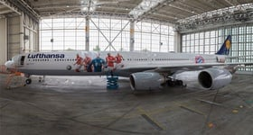Lufthansa Airbus A340-600 now with new FC Bayern livery