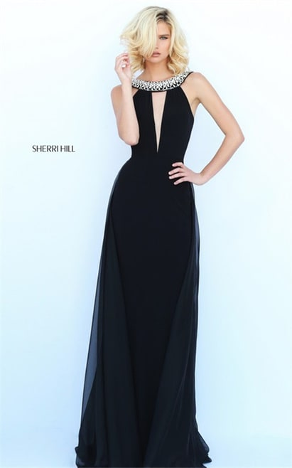 Jeweled V-Neck Fitted Sherri Hill 50978 Black Long Evening Dress 2017