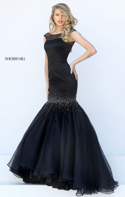 2016 Boat Neckline Black Jeweled Embellishments Cap Sleeves Sherri Hill 50392 Long Pleated Prom Dresses