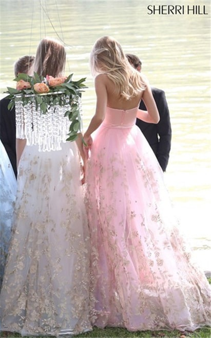 2017 Blush Appliqued Sherri Hill 51244 Strapless Lace Brides Dress Outlet